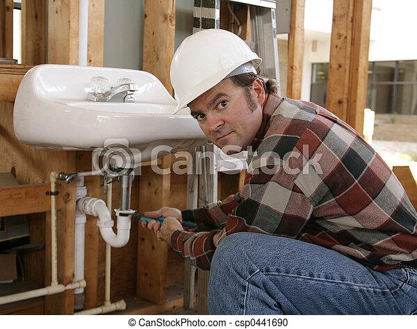 Construction Plumber Working - csp0441690