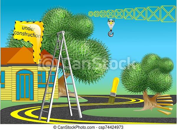 construction, résumé, surréaliste - csp74424973