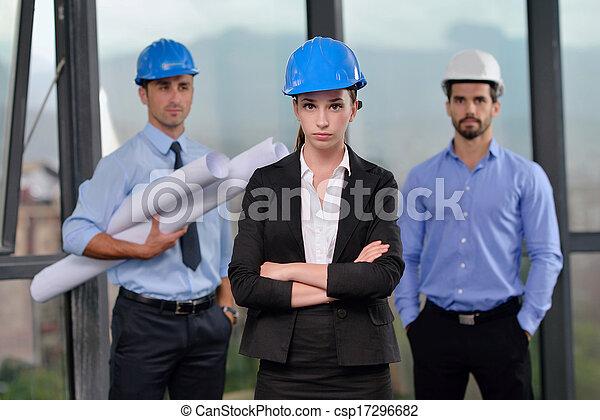 construction, réunion, ingénieurs, professionnels - csp17296682