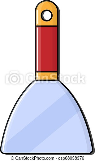 Construction red-yellow icon metal trowel, trowel with a wooden handle designed for applying mortar, plaster, cement, putty on the walls. Construction tool. Vector illustration - csp68038376