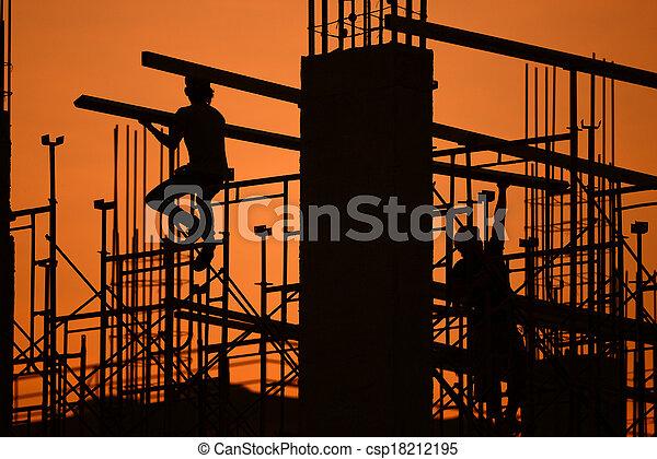 construction, silhouette, site - csp18212195