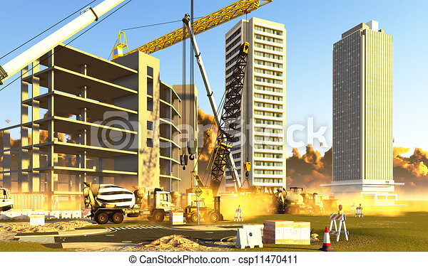 Clipart of Construction site covered with dust csp11470411 ...