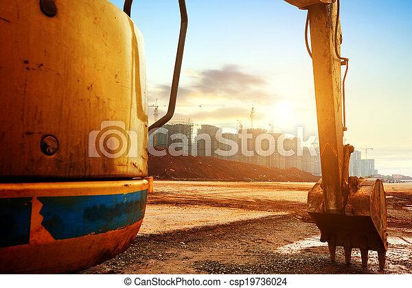 Construction site excavator - csp19736024