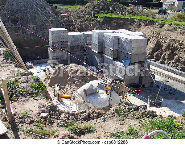 Construction site of a private home - csp0812288