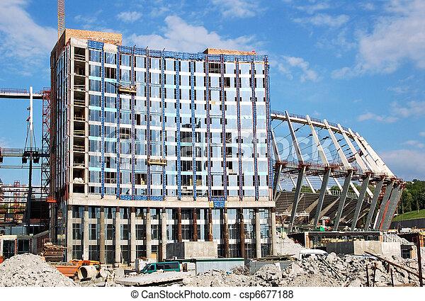 Construction site of stadium - csp6677188