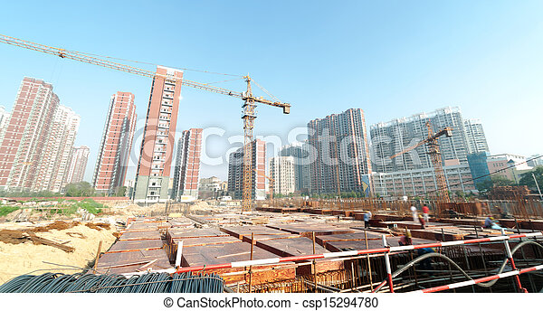 Construction site with crane and building - csp15294780