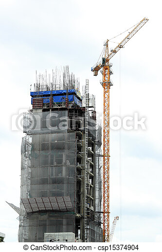 Construction site with crane and building in downtown of bangkok thailand - csp15374904