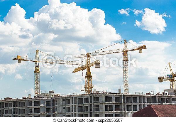 Construction site with cranes - csp22056587