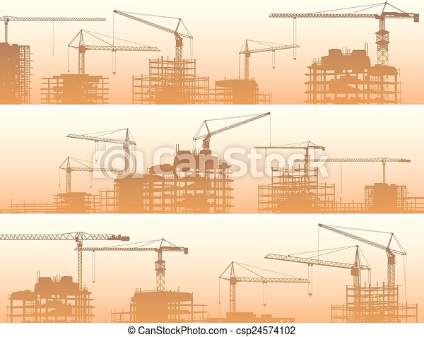 Construction site with cranes. - csp24574102