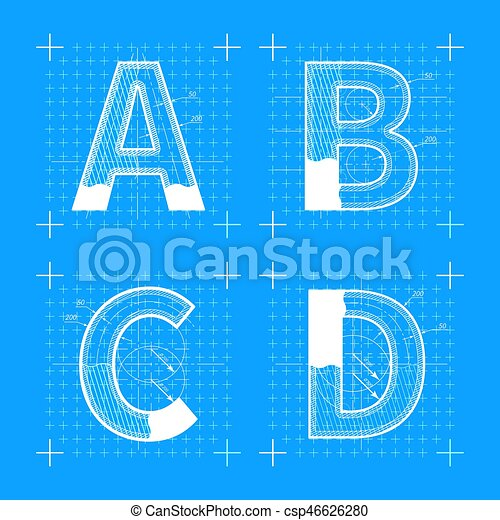 Construction sketches of a b c d letters blueprint style vector construction sketches of a b c d letters csp46626280 malvernweather Gallery