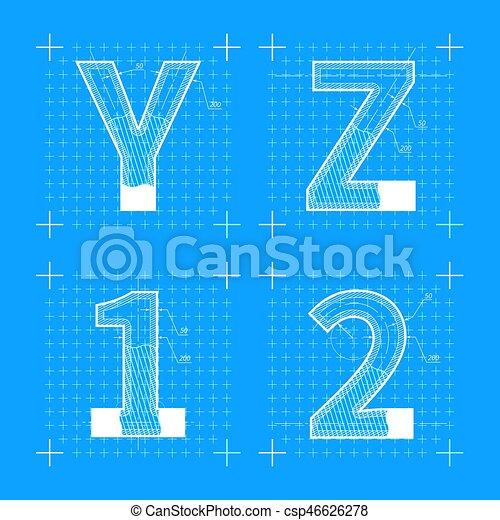 Construction sketches of y z 1 2 letters blueprint style vectors construction sketches of y z 1 2 letters blueprint style font csp46626278 malvernweather Images
