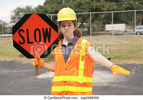 Construction Slow Sign - csp0466459