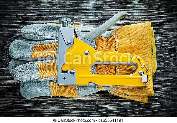 Construction staple gun pair of safety gloves - csp55541191