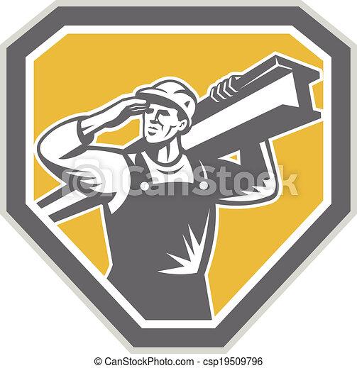 Construction Steel Worker Carrying I-Beam Retro - csp19509796