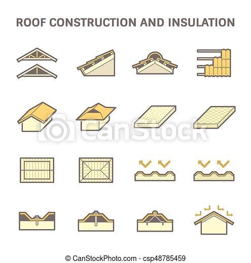 construction, toit, icône - csp48785459