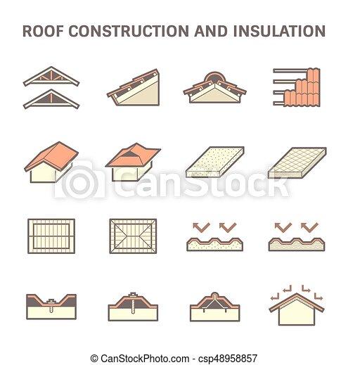 construction, toit, icône - csp48958857