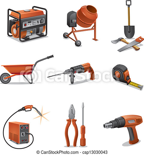 construction tools icons - csp13030043