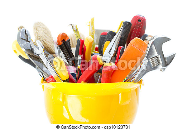 Construction tools in hard hat - csp10120731