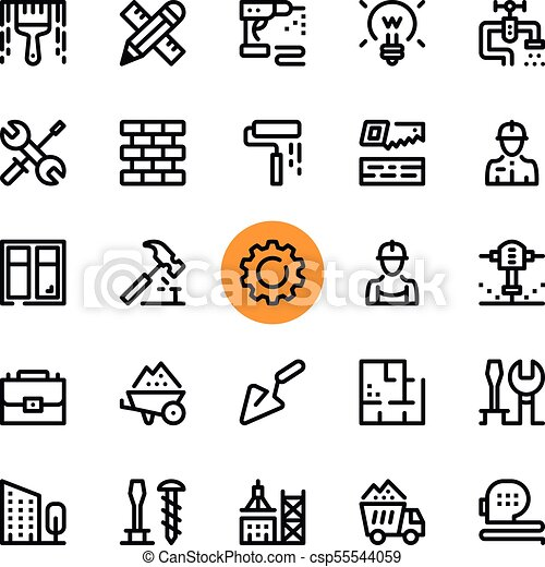 Construction, tools line icons set  Modern graphic design concepts, simple  outline elements collection  32x32 px  Pixel perfect  Vector line icons