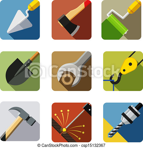 construction tools. set of vector icons - csp15132367
