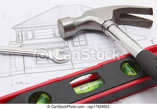 construction tools with house blueprint - csp17424823