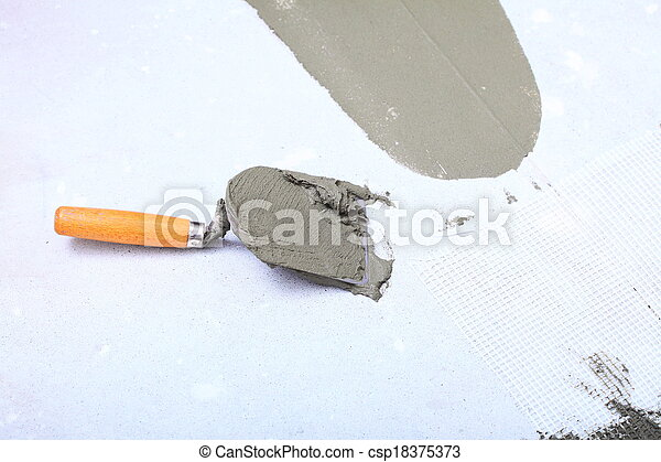 Construction Trowel With Mortar For Tiles Work Home Improvement