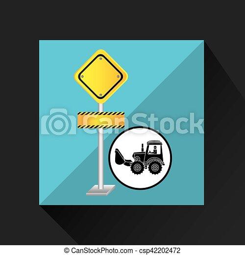 construction truck concept road sign design - csp42202472