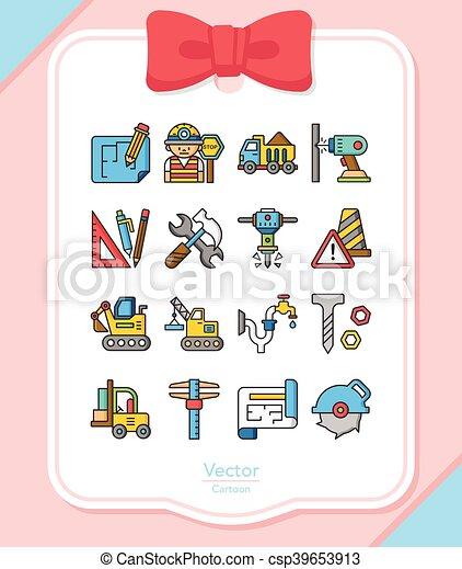 construction, vecteur, ensemble, icône - csp39653913