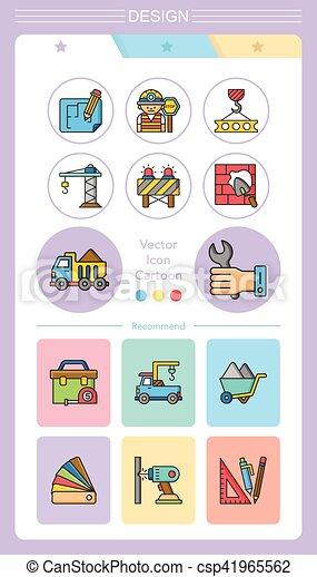 construction, vecteur, ensemble, icône - csp41965562