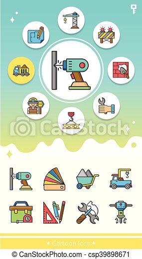 construction, vecteur, ensemble, icône - csp39898671