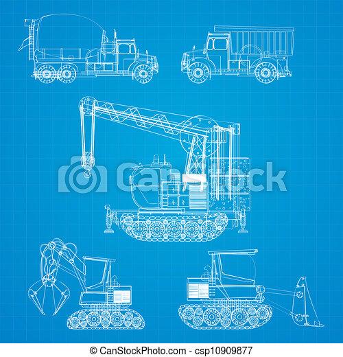 Construction vehicles blueprint - csp10909877