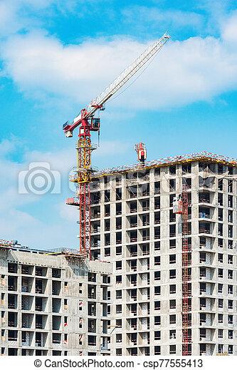 construction., vue, construction, logement, site - csp77555413