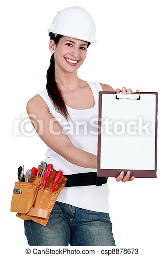 Construction woman with a blank clipboard - csp8878673