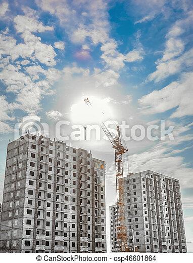 Construction work site and column crane - csp46601864