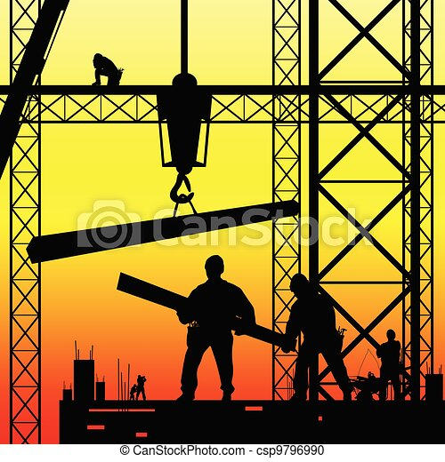 construction worker at work and dusk vector illustration - csp9796990