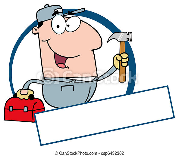 Construction Worker Banner  - csp6432382
