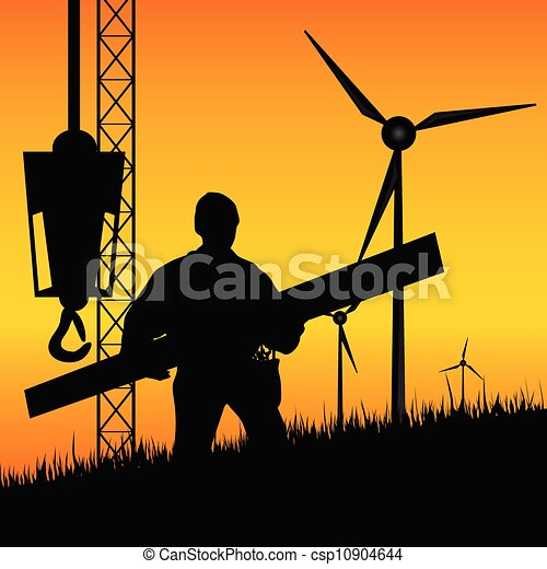 construction worker builds windmills vector - csp10904644