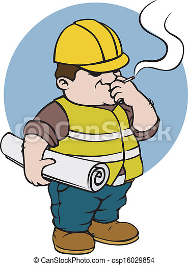 construction worker smoking and holding the paper work clipart rh canstockphoto com construction worker clipart images construction worker clipart images