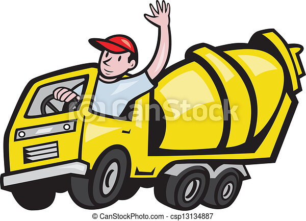 construction worker driver cement mixer truck illustration of a rh canstockphoto com clipart concrete construction concrete mixer clipart