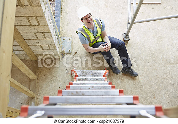 Construction Worker Falling Off Ladder And Injuring Leg - csp21037379