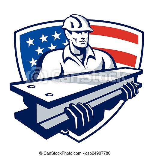construction-worker-i-beam-shield - csp24907780