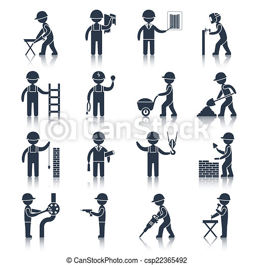 Construction worker icons black - csp22365492