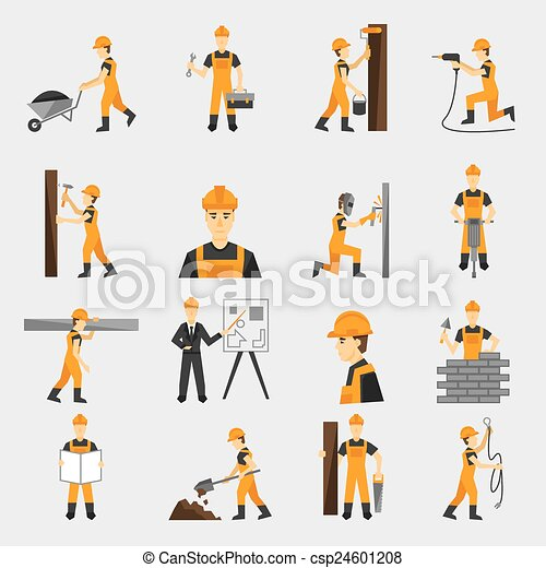 Construction worker icons flat - csp24601208