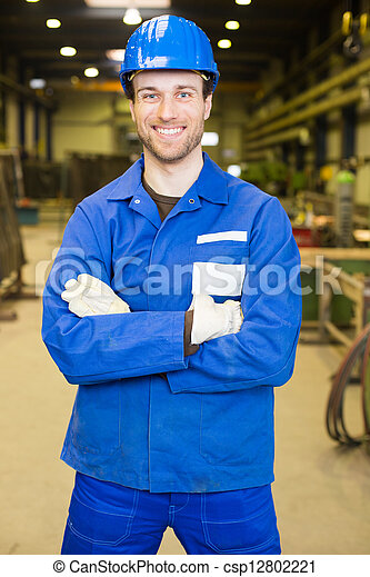 Construction worker in assembly hall - csp12802221