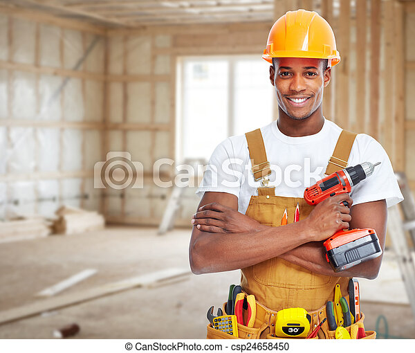 Construction worker in  new house.  - csp24658450