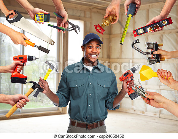 Construction worker in  new house.  - csp24658452