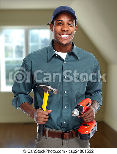 Construction worker in  new house.  - csp24801532