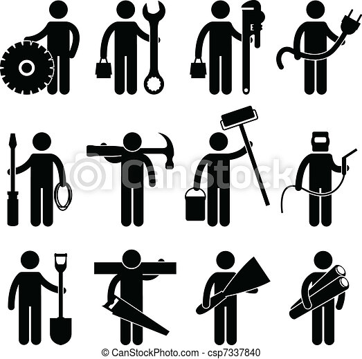 Construction Worker Job Icon Pictog - csp7337840