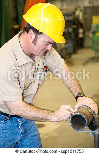 Construction Worker Marking Pipe - csp1211755