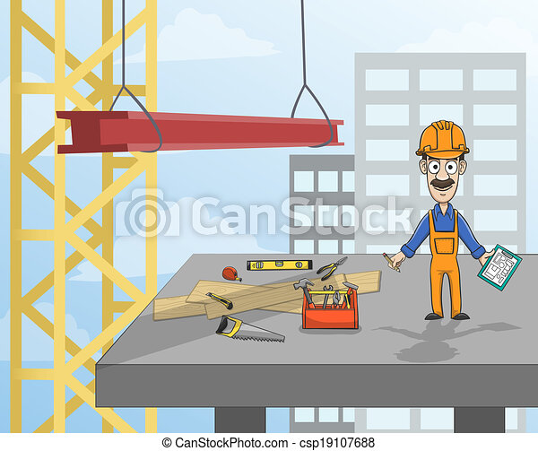 add152adb43dc Construction worker on platform. Highrise building construction ...